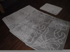 ROMANY WASHABLES TRAVELLERS MATS 4PC NON SLIP DESIGN SUPER THICK SILVER/GREY